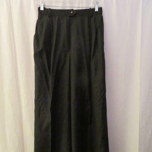 CHANEL BLACK,GRAY PIN-STRIPE WIDE LEG PANTS 38/S